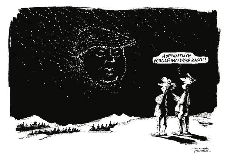 """OÖN-Karikatur vom 12. August 2016: """"Die Zeit der Sternschnuppen"""" Mehr Karikaturen auf: http://www.nachrichten.at/nachrichten/karikatur/ (Bild: G. Mayerhofer)"""