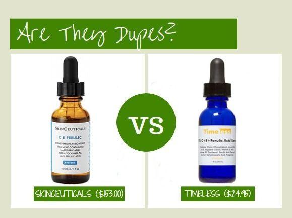 Are they dupes?: skicenuticals ce ferulic vs timeless vitamin c ferulic acid serum