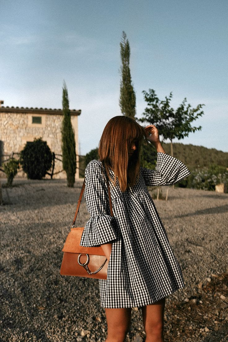 Outfit: Vichy print dress at sunset