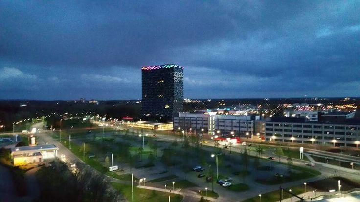Dark skies and bright city lights...... Nijmegen at nightfall