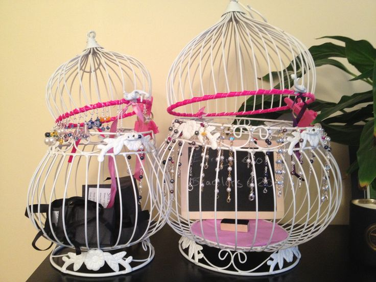 Funky jewellery display made from a bird cage