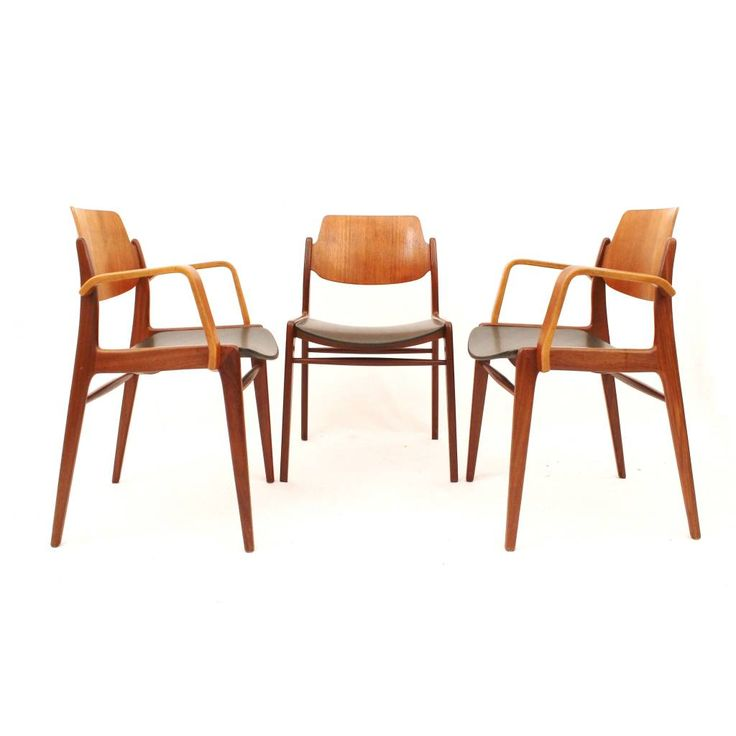 Drie teak stoelen ontworpen door Hartmut Lohmeyer voor Wilkhahn, Duits Design