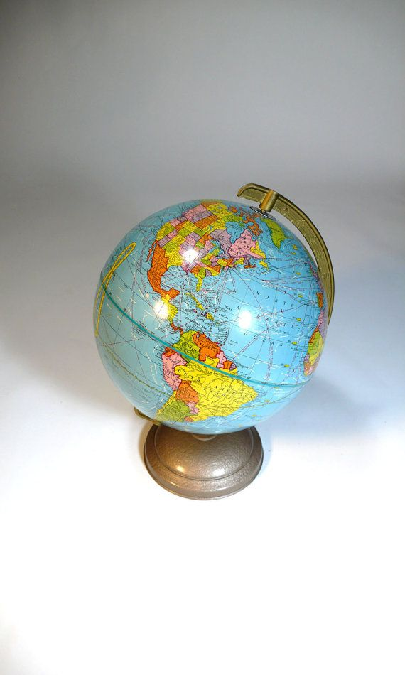 midcentury WORLD GLOBE metal base - cram company flight patterns map - so old school @Sugar Cube