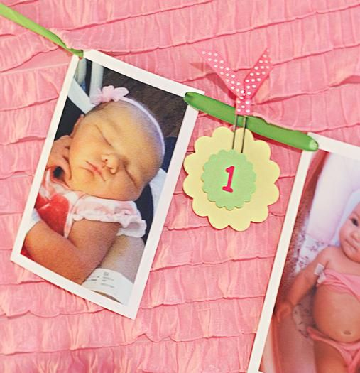 Decora la fiesta del primer cumpleaños con un banderín hecho con fotos del bebé por cada mes de su vida / Decorate a first birthday party with a banner made a photo of the baby for each month of her life