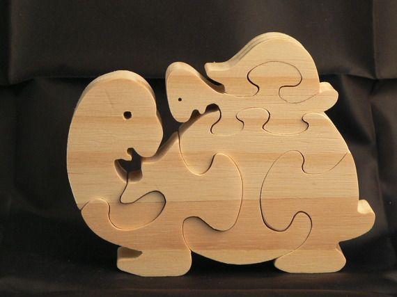 """Puzzle animaux """"La tortue et son bébé """" en bois découpé"""