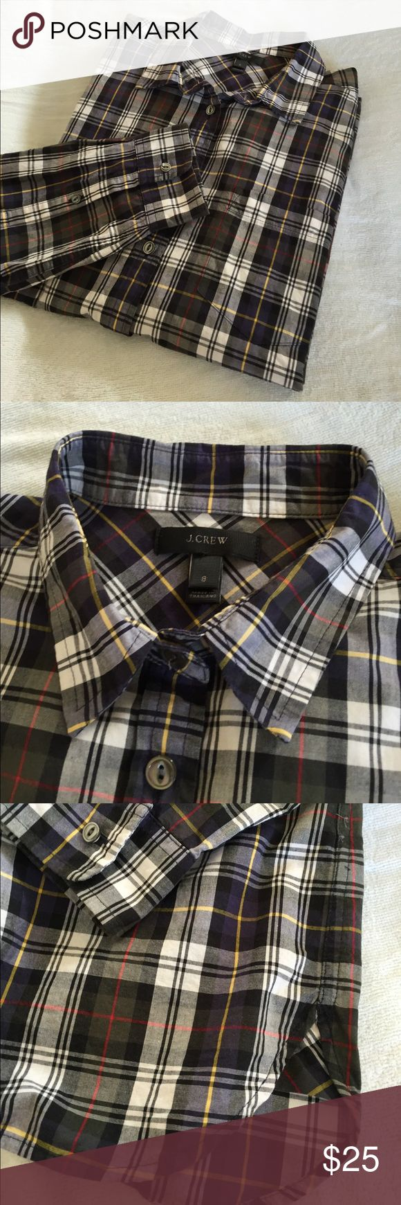 "🆕 J. Crew shrunken boy shirt in forest plaid EUC This J. Crew shirt is a slimmed down version of its popular ""boy"" cut. The cotton poplin is crisp without being stiff and the green/blue/black/ white plaid mixes with both denim and ""office pants""! Size 8. Measurements:  26.5"" long center back from base of collar; 20"" pit to pit; sleeves 23"" from shoulder seam. EUC; worn 2-3 times, freshly laundered and then stored. J. Crew Tops Button Down Shirts"