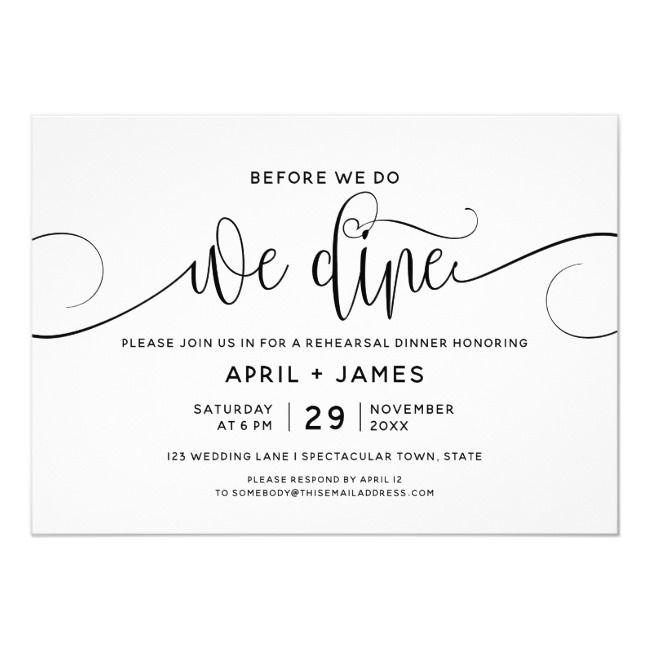Before We Do We Dine Rehearsal Dinner Invitation | Zazzle.com ...