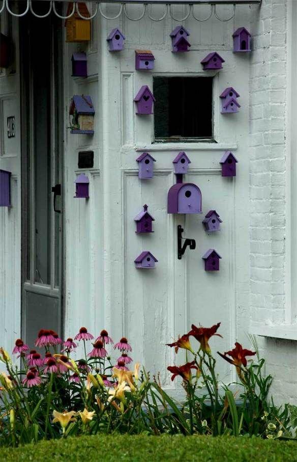 purple birdhouses