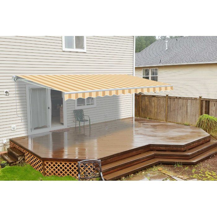 13 Ft W X 8 Ft D Fabric Retractable Standard Patio Awning Pergola Patio Awning Patio Canopy