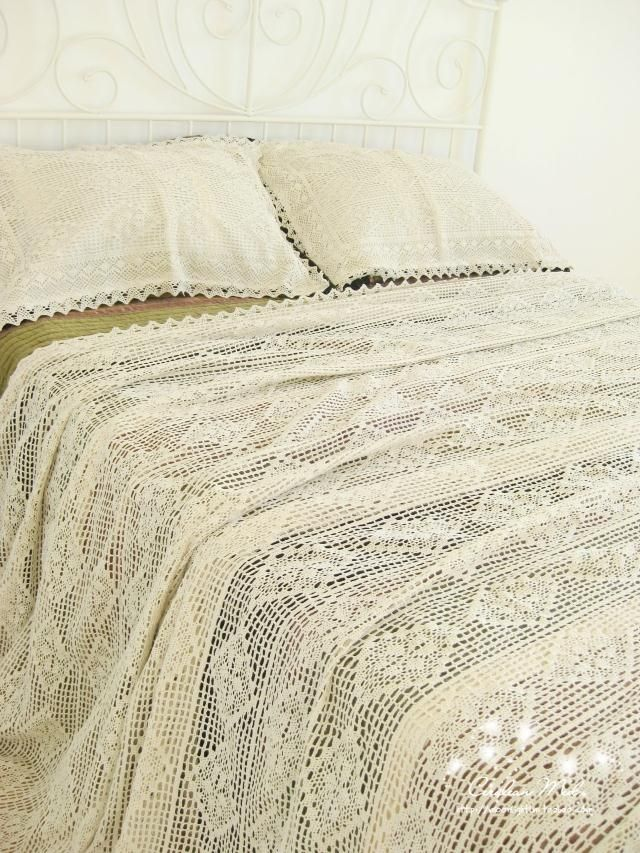 Handmade bedding set king hook needle cotton thread bed cover white beige vintage bed spread pillowcases 3 Pcs free shipping-inBedding Sets ...