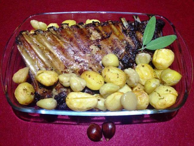 Entrecosto com Batatas e Castanhas no Forno