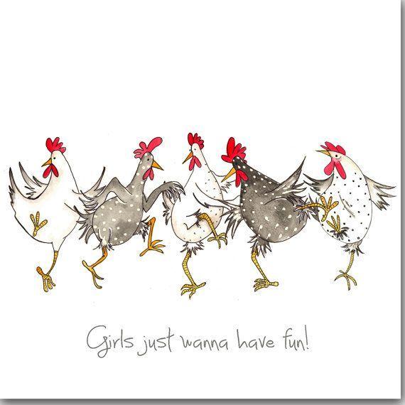 Huhn-Karte – Mädchen wollen einfach nur Spaß haben Grußkarte – Geburtstagskarte, für sie, Galentines Day Card