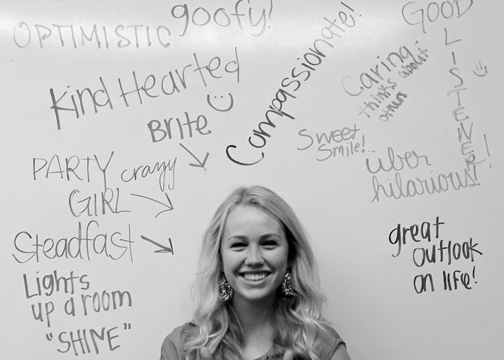 We did this at church!! ---> Have one person sit on a chair in front of a white board while the others write a positive phrase about them. Take a picture to give to each person. fun idea especially when you cant see what people are writing :)