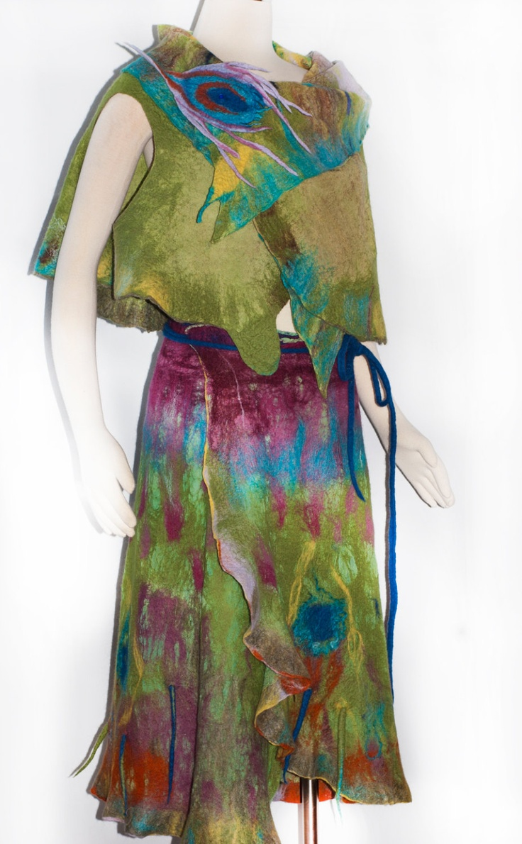 Nuno Felted Skirt Peacock Feathers Part of the set Birds of a Feather. $350.00, via Etsy.