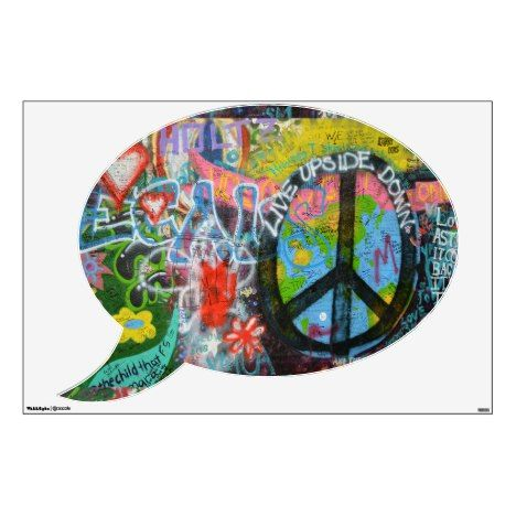 Live Upside Down Peace Sign Wall Wall Sticker