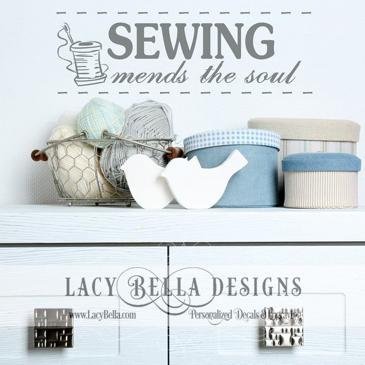 """www.lacybella.com  """"Sewing Mends The Soul"""" wall art decal vinyl lettering hobby room decor"""