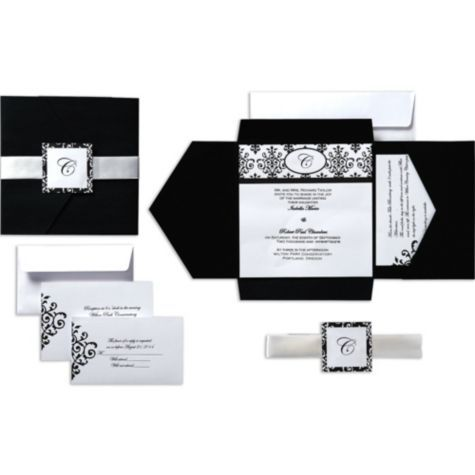 Black U0026 White Scroll Square Pocket Printable Wedding Invitations Kit    Party City