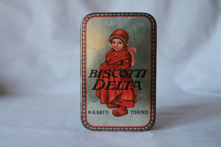 Rara Scatola in Latta Biscotti Delta - M.A. Gatti Torino-Monaco Primi '900