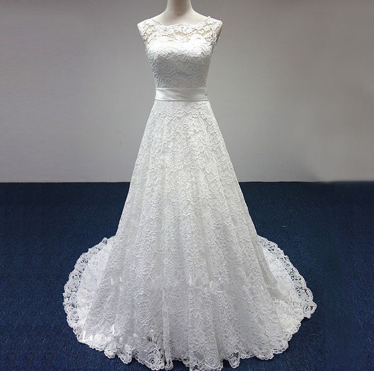 White ivory a line lace empire waist wedding dress bridal for Ivory empire waist wedding dress