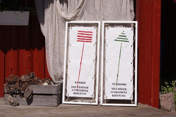 Marina Tavlor har med fördel våra handgjorda ramar. Här målat på segelduk: Babord och styrbord.