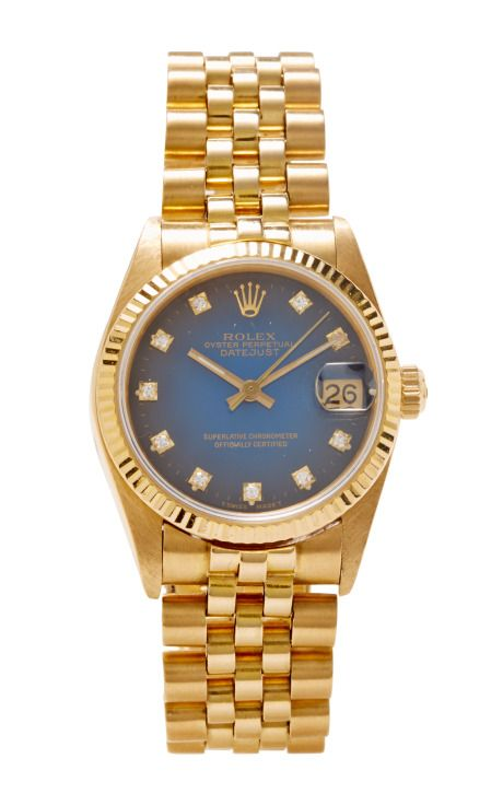 Vintage 18K Gold Rolex Oyster Perpetual Datejust with Blue Vignette Diamond Dial by Cmt Fine Watch and Jewelry Advisors Now Available on Moda Operandi