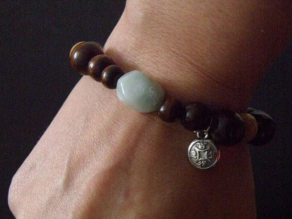 Aventurine and Wood Beaded Bracelet with Chinese Coin Good