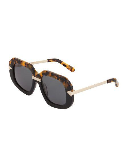 f657341bc6d5 Karen Walker Hollywood Creeper Havana Acetate\\/Metal Sunglasses in ...