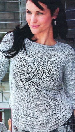 Really neat crochet sweater (free pattern in, what is that - RUSSIAN? - but includes a diagram).
