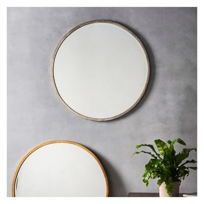 Higgings round antique silver frame round mirror | modern minimal round mirror Shop > http://www.exclusivemirrors.co.uk/wall-mirrors/higgins-round-antique-silver-80x80cm