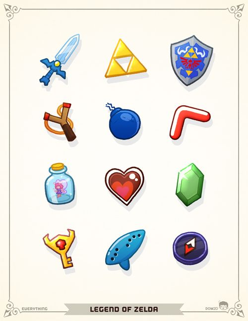 Zelda items by Dom2D Lee Lee these would make a great bracelet!