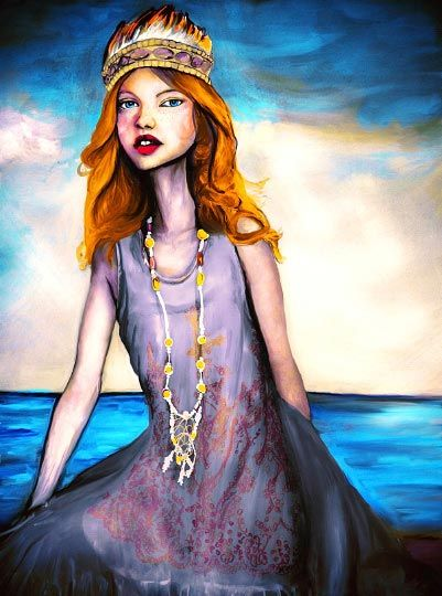 Danny Roberts oil Painting of a girl sitting by the Sea Wearing Anna Sui Spring 2011 Collection with a beaded necklace and a feather gown from New York Fashion Week.
