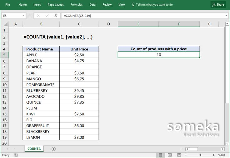 How to use Excel COUNTA function?
