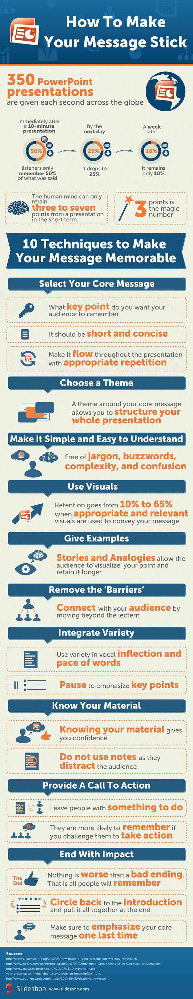 Great presentation tips in this How To Make Your Message stick [INFOGRAPHIC] #marketing #nonprofit #presentation