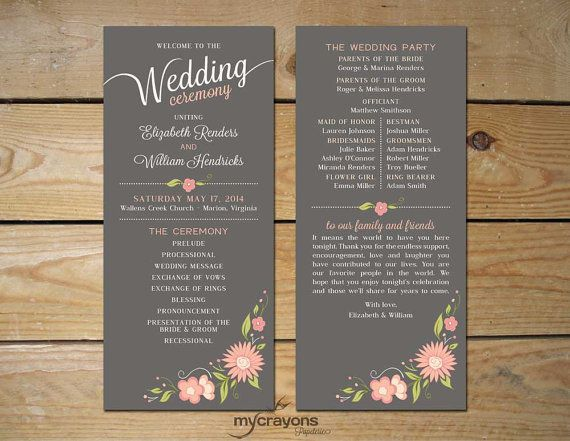 Romantic Floral Printable Wedding Program // Order of Service // Gray and Blush Pink on Etsy, $44.38 AUD
