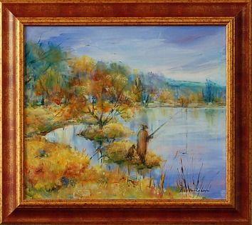 Olejomaľba, Emília Ksenzsighová, Rybár na rieke, 205 €, 40 x 45 cm