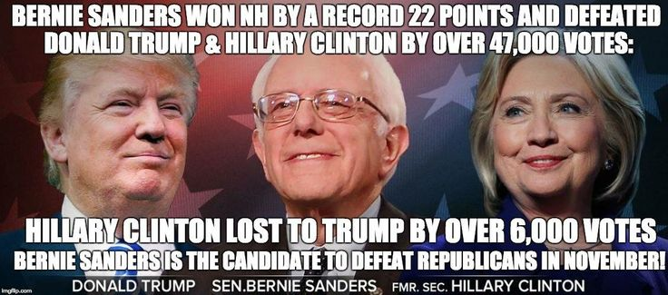Bernie Sanders defeated Clinton by a record 22 points and defeated Trump by 47,000 votes.  Clinton LOST to Donald Trump by 6,000 votes.  Sanders is by FAR the stronger general election candidate.  #berniesanders2016 #berniewon #newhampshireprimary