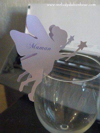 Marque place sur verre pour un baptême thème fée