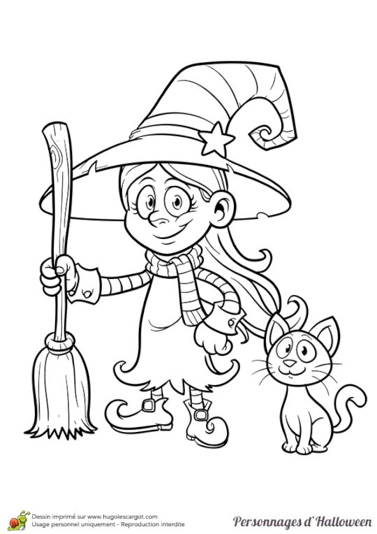Coloriage legende halloween fillette sorciere