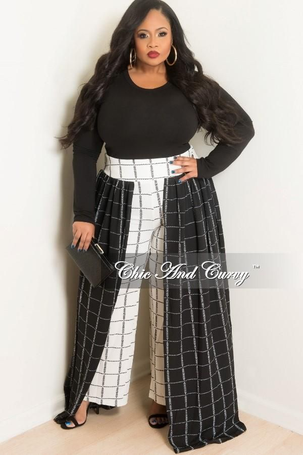 7ed9e3af425b2 Plus Size Palazzo Skirt Pants in Black and White – Chic And Curvy ...