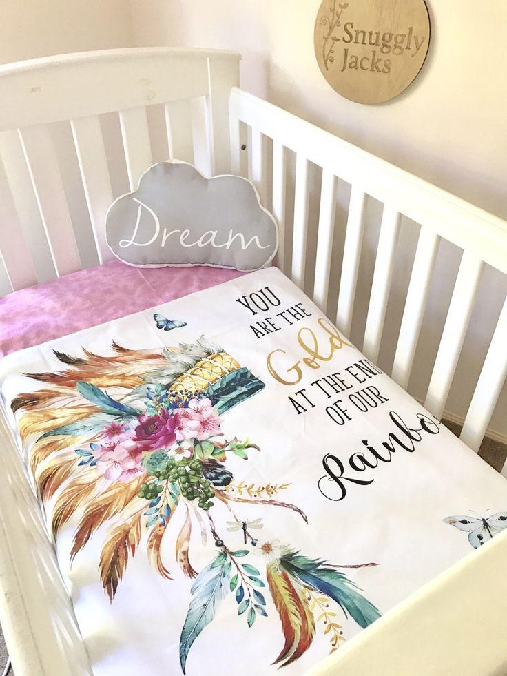 Baby Girl Cot Quilt Blanket Rainbow Headress Nursery Decor