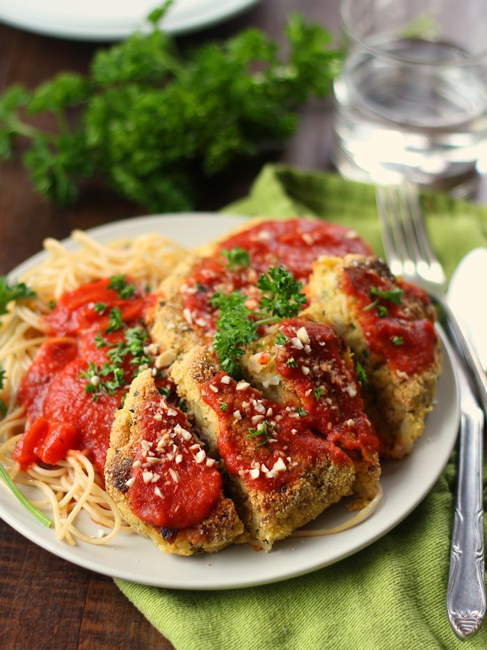 This veganized take on chicken parm is made from chickpea cutlets that are cooked up with a crispy cornmeal crust and drenched in marinara sauce.