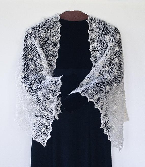 SOLD.  Hand knitted lace shawl - cobweb yarn  by NeedlesandNature on Etsy