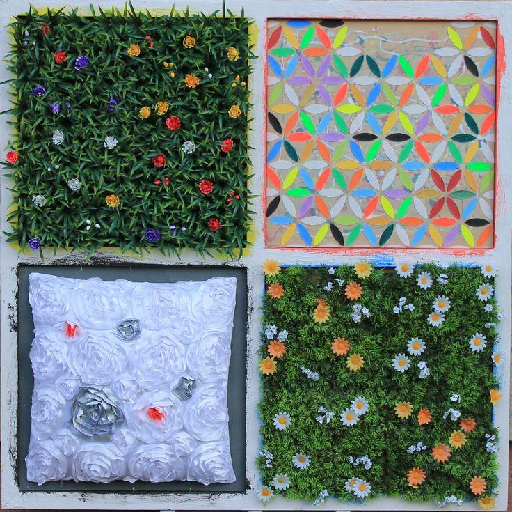 le stagioni   100x100 cuscino-erba con fiori sintetica e pannello dipinto 600