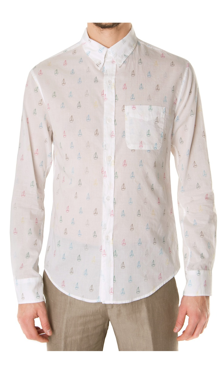 Band of Outsiders Sail-Boat Print #Shirt - #clothes