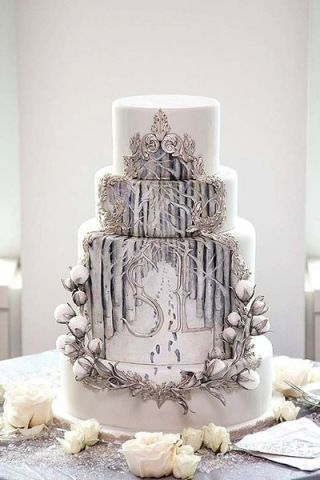 Indian Weddings Inspirations. Silver Wedding Cake. Repinned by #indianweddingsmag http://etsy.me/1ht4RXH