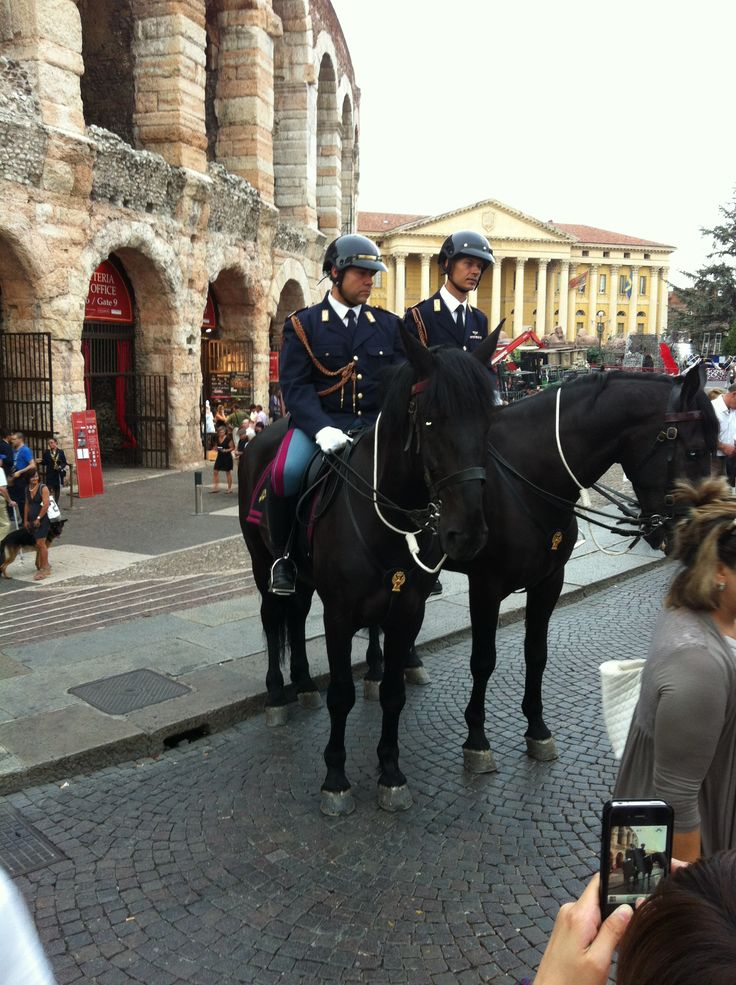 Italian mounted police outside the Arena in Verona Italy