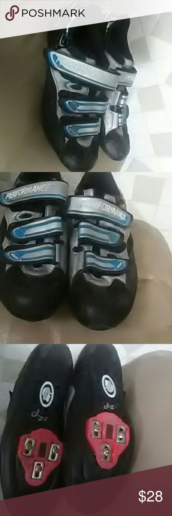 Performance sz9 Azzurri Road Bike Shoes, -? These are in great shape in a size 9 EU 43. They have the plastic type clips that cost $5.00 to $10.00 if you have to buy them.  You will know if they fit your bike. PEFORMANCE Shoes Athletic Shoes