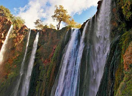 Categorie: Landschappen Marokko waterval Ouzoud 3  Prijs per kaart vanaf: € 2,65 excl. porto Wenskaart is geheel naar eigen wens aan te passen, tekst, figuur of foto. www.wenskaartenshop.droomcreaties.nl