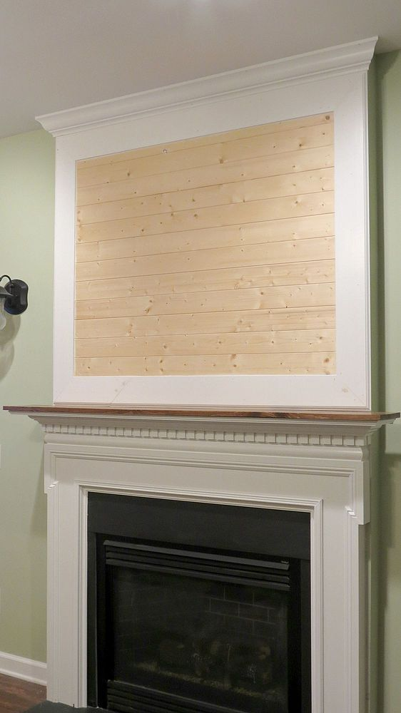 building a fireplace mantel after closing a tv niche above fireplace shiplap boards. Black Bedroom Furniture Sets. Home Design Ideas