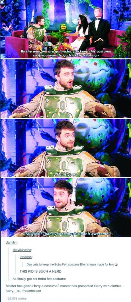Master has given Harry a costume